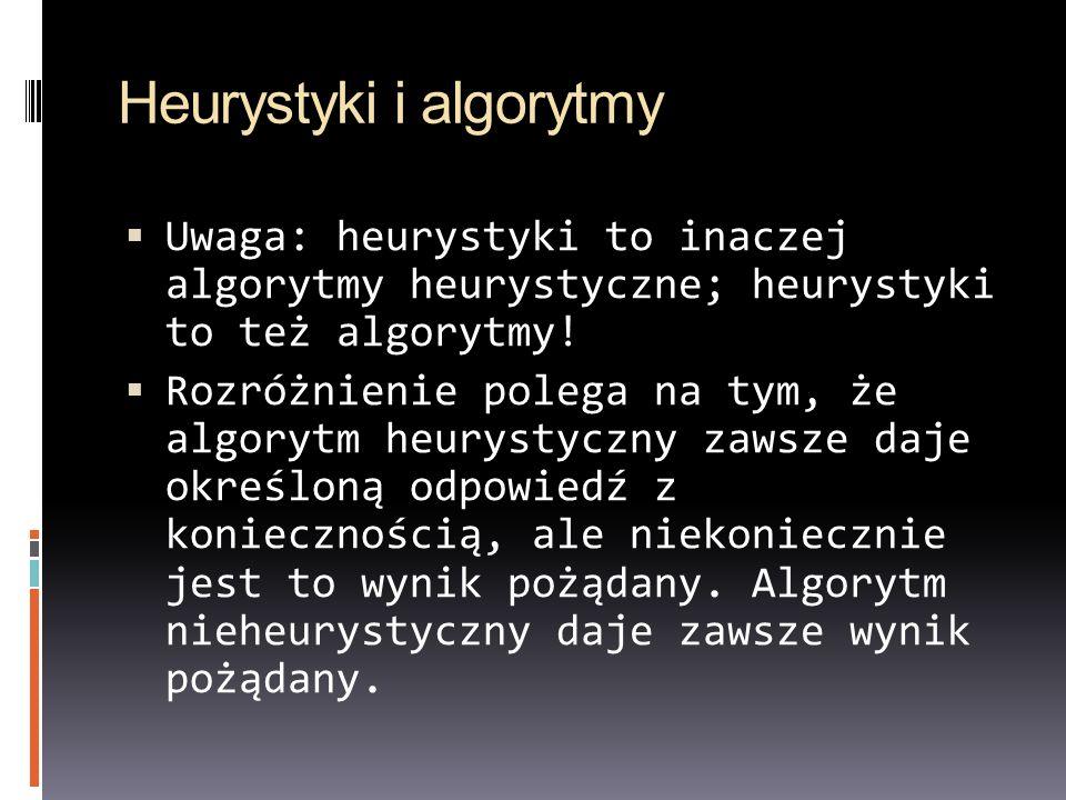 Heurystyki i algorytmy Uwaga: heurystyki to inaczej algorytmy heurystyczne; heurystyki to też algorytmy! Rozróżnienie polega na tym, że algorytm heury