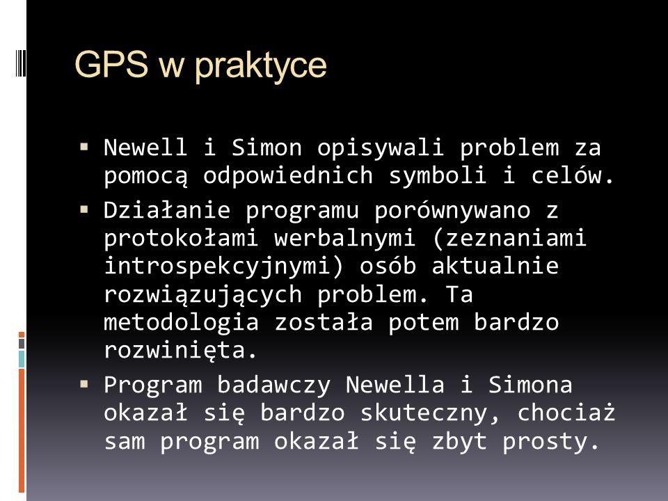 GPS w praktyce Newell i Simon opisywali problem za pomocą odpowiednich symboli i celów. Działanie programu porównywano z protokołami werbalnymi (zezna