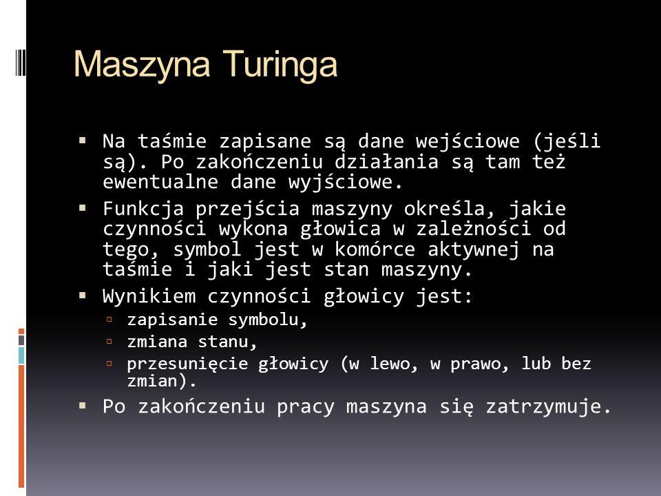 Maszyna Turinga Na taśmie zapisane są dane wejściowe (jeśli są). Po zakończeniu działania są tam też ewentualne dane wyjściowe. Funkcja przejścia masz
