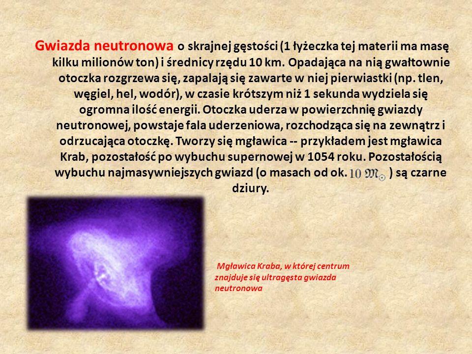 Gwiazda neutronowa o skrajnej gęstości (1 łyżeczka tej materii ma masę kilku milionów ton) i średnicy rzędu 10 km. Opadająca na nią gwałtownie otoczka