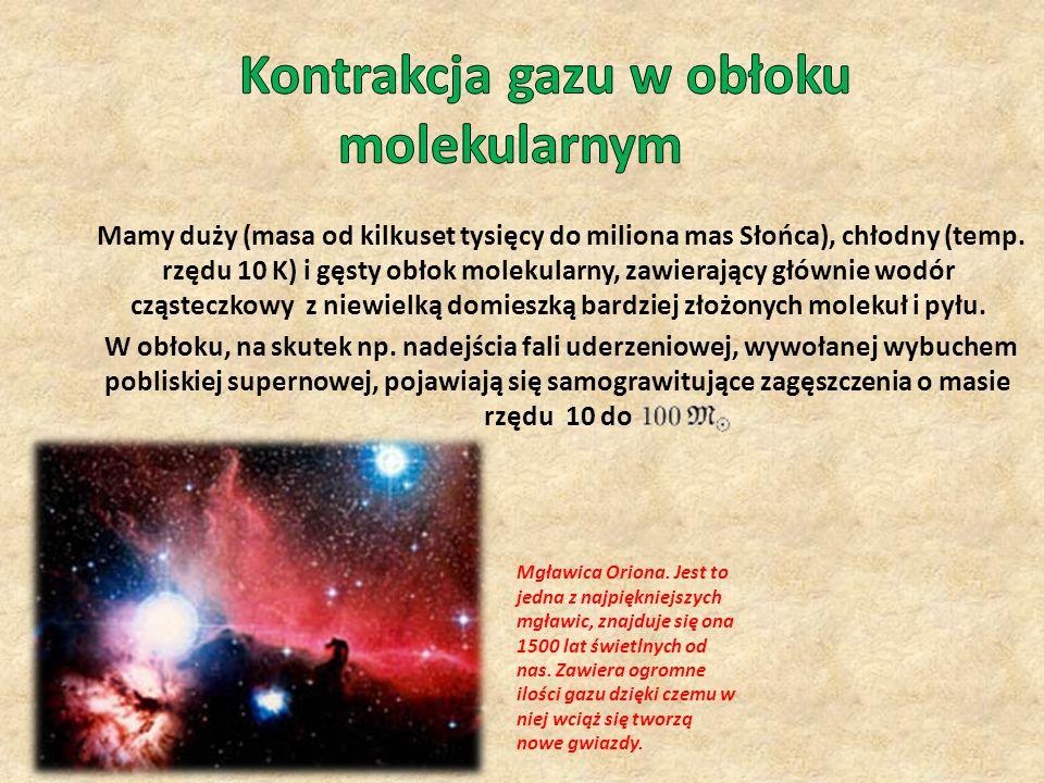 Mamy duży (masa od kilkuset tysięcy do miliona mas Słońca), chłodny (temp. rzędu 10 K) i gęsty obłok molekularny, zawierający głównie wodór cząsteczko