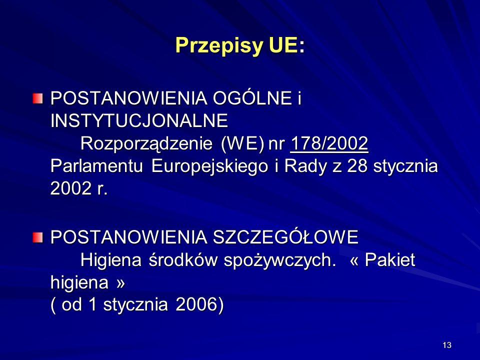 13 Przepisy UE: POSTANOWIENIA OGÓLNE i INSTYTUCJONALNE Rozporządzenie (WE) nr 178/2002 Parlamentu Europejskiego i Rady z 28 stycznia 2002 r. POSTANOWI