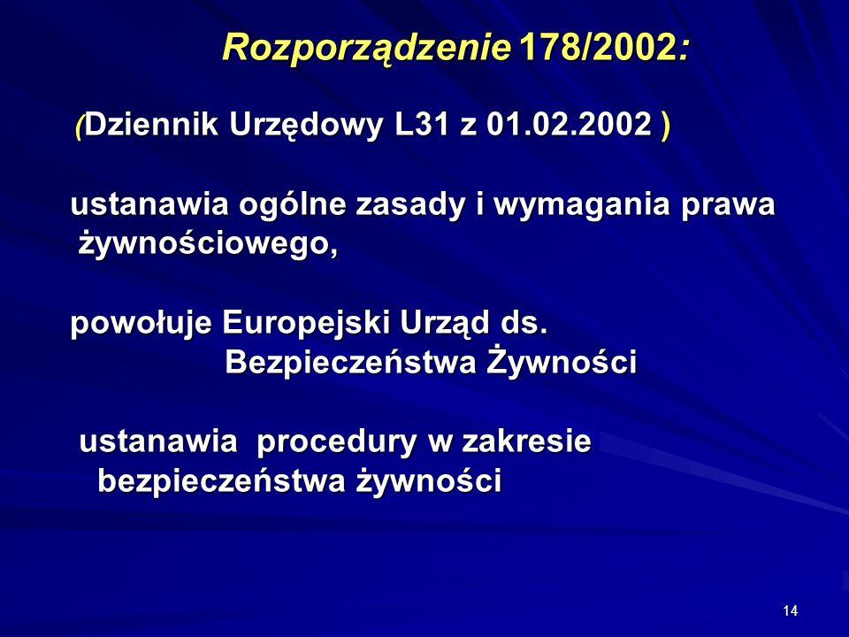 14 Rozporządzenie 178/2002: ( Dziennik Urzędowy L31 z 01.02.2002 ) ustanawia ogólne zasady i wymagania prawa żywnościowego, powołuje Europejski Urząd