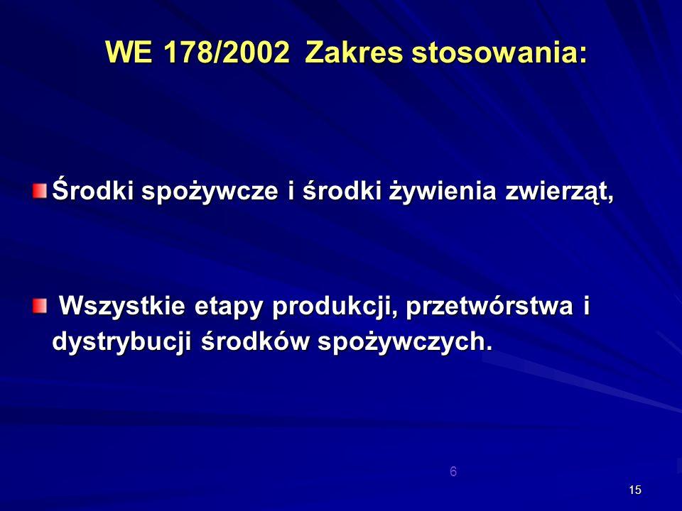 15 WE 178/2002 Zakres stosowania: Środki spożywcze i środki żywienia zwierząt, Wszystkie etapy produkcji, przetwórstwa i dystrybucji środków spożywczy