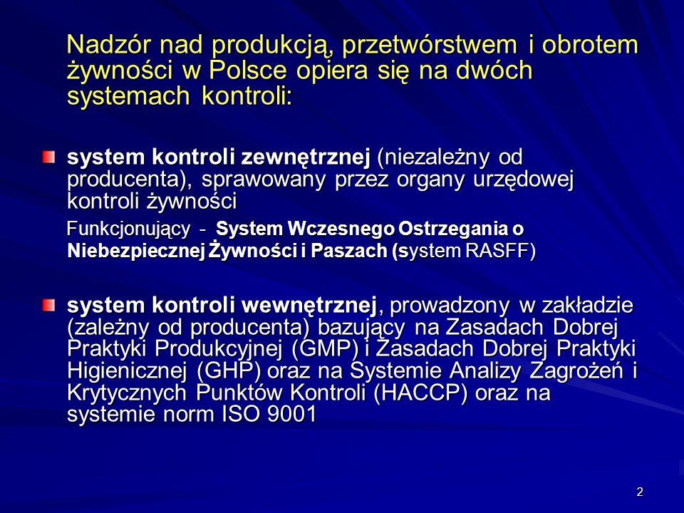 2 Nadzór nad produkcją, przetwórstwem i obrotem żywności w Polsce opiera się na dwóch systemach kontroli: Nadzór nad produkcją, przetwórstwem i obrote