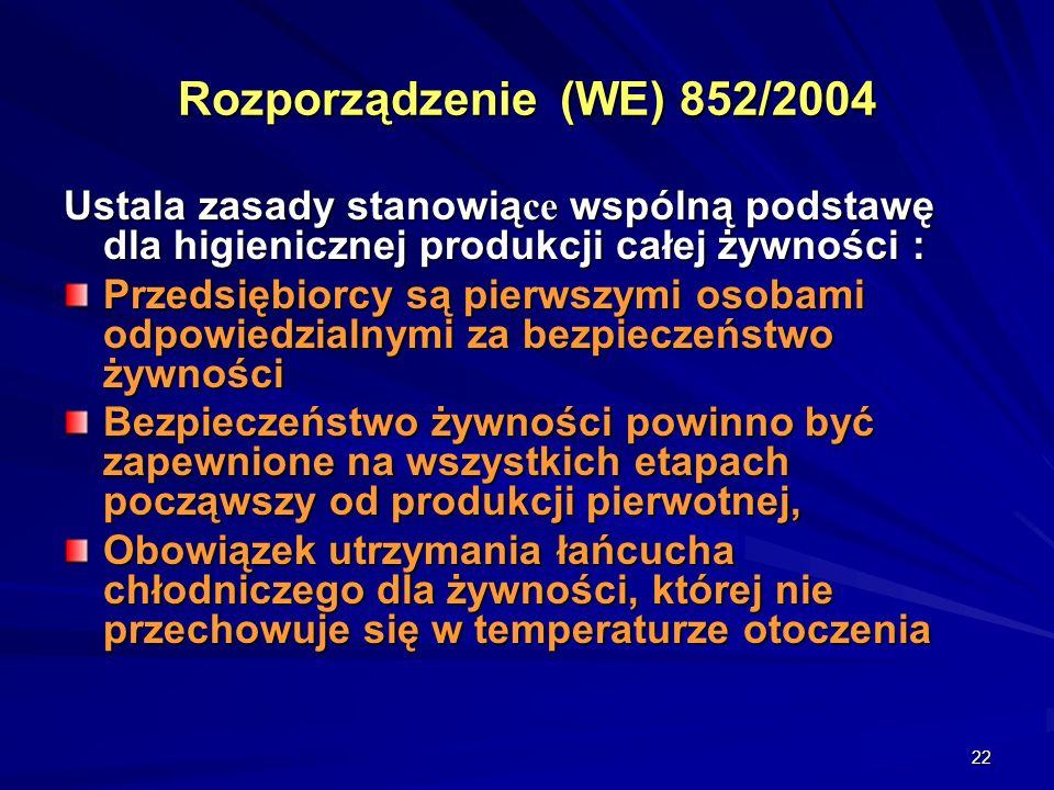 22 Rozporządzenie (WE) 852/2004 Ustala zasady stanowią ce wspólną podstawę dla higienicznej produkcji całej żywności : Przedsiębiorcy są pierwszymi os