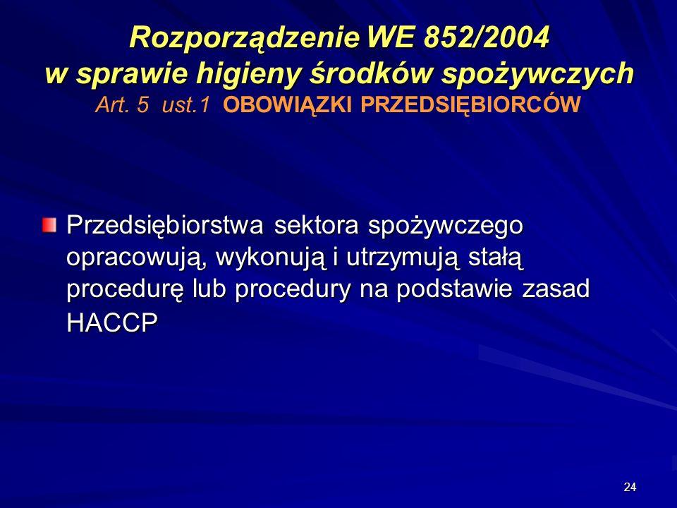 24 Rozporządzenie WE 852/2004 w sprawie higieny środków spożywczych Rozporządzenie WE 852/2004 w sprawie higieny środków spożywczych Art. 5 ust.1 OBOW