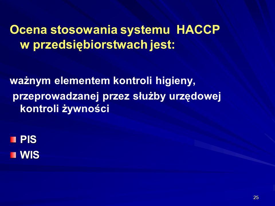25 Ocena stosowania systemu HACCP w przedsiębiorstwach jest: ważnym elementem kontroli higieny, przeprowadzanej przez służby urzędowej kontroli żywnoś