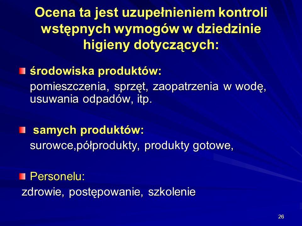 26 Ocena ta jest uzupełnieniem kontroli wstępnych wymogów w dziedzinie higieny dotyczących: środowiska produktów: pomieszczenia, sprzęt, zaopatrzenia