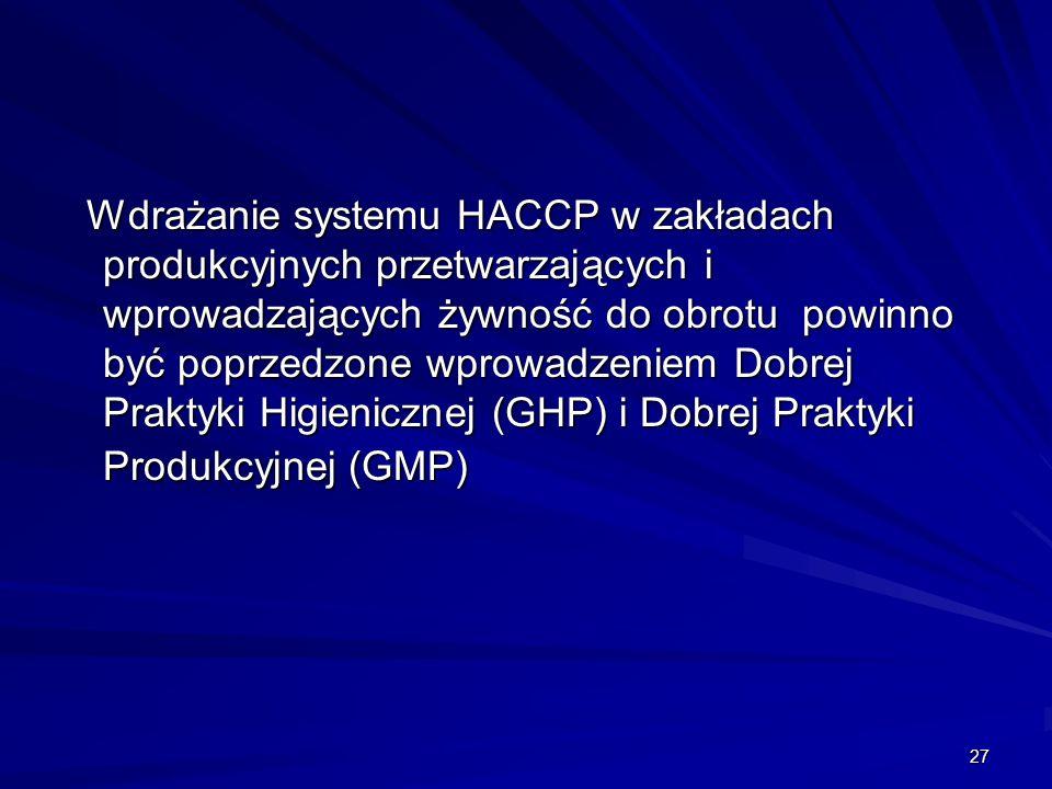 27 Wdrażanie systemu HACCP w zakładach produkcyjnych przetwarzających i wprowadzających żywność do obrotu powinno być poprzedzone wprowadzeniem Dobrej