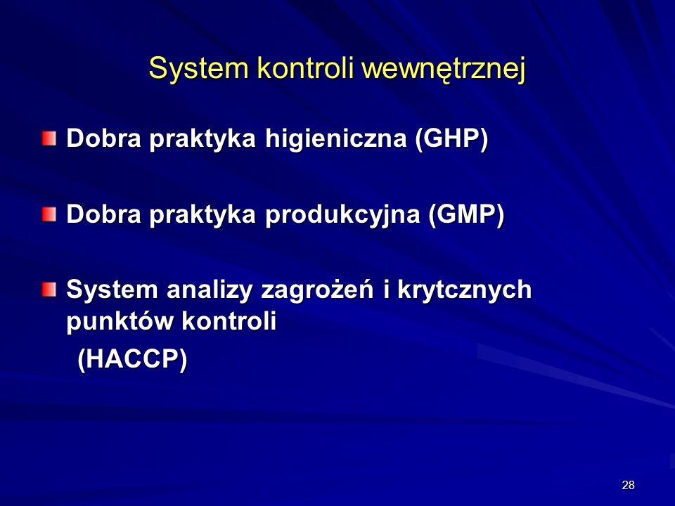 28 System kontroli wewnętrznej Dobra praktyka higieniczna (GHP) Dobra praktyka produkcyjna (GMP) System analizy zagrożeń i krytcznych punktów kontroli