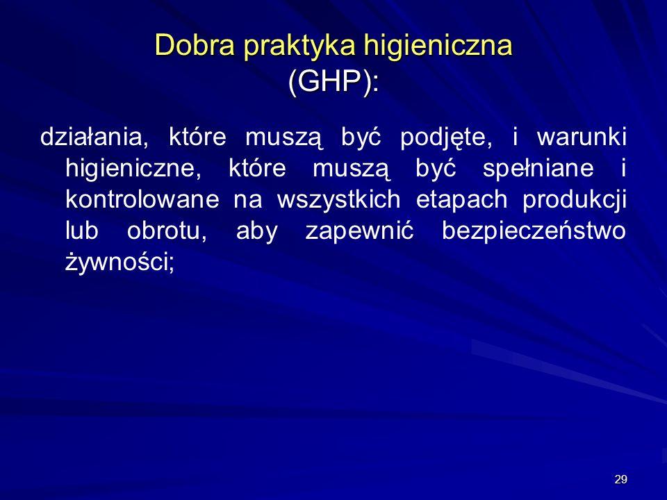 29 Dobra praktyka higieniczna (GHP): działania, które muszą być podjęte, i warunki higieniczne, które muszą być spełniane i kontrolowane na wszystkich