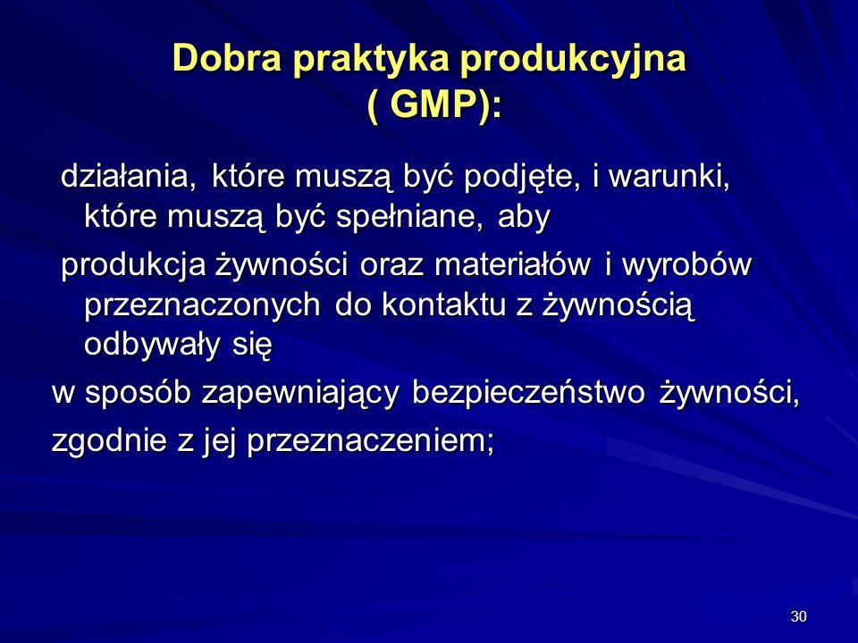30 Dobra praktyka produkcyjna ( GMP): działania, które muszą być podjęte, i warunki, które muszą być spełniane, aby działania, które muszą być podjęte