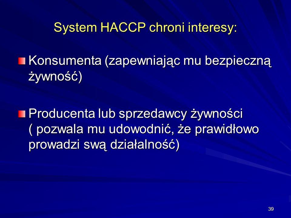 39 System HACCP chroni interesy: Konsumenta (zapewniając mu bezpieczną żywność) Producenta lub sprzedawcy żywności ( pozwala mu udowodnić, że prawidło