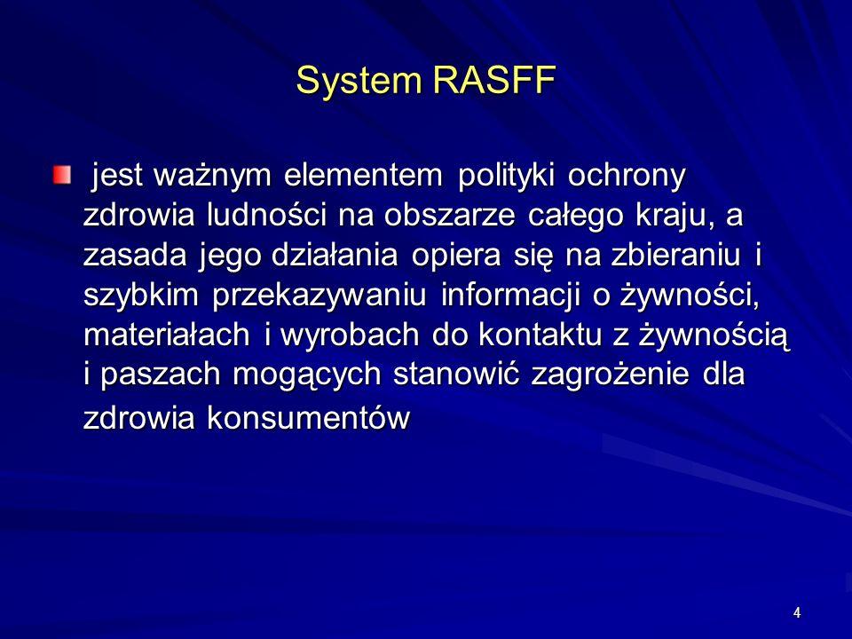 4 System RASFF jest ważnym elementem polityki ochrony zdrowia ludności na obszarze całego kraju, a zasada jego działania opiera się na zbieraniu i szy