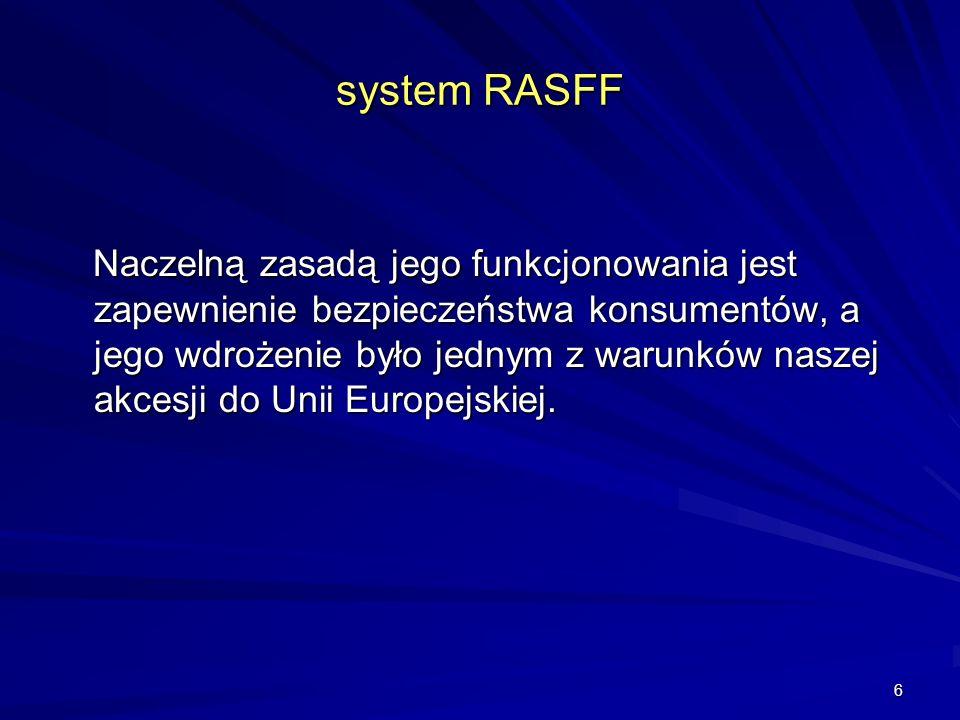 6 system RASFF Naczelną zasadą jego funkcjonowania jest zapewnienie bezpieczeństwa konsumentów, a jego wdrożenie było jednym z warunków naszej akcesji