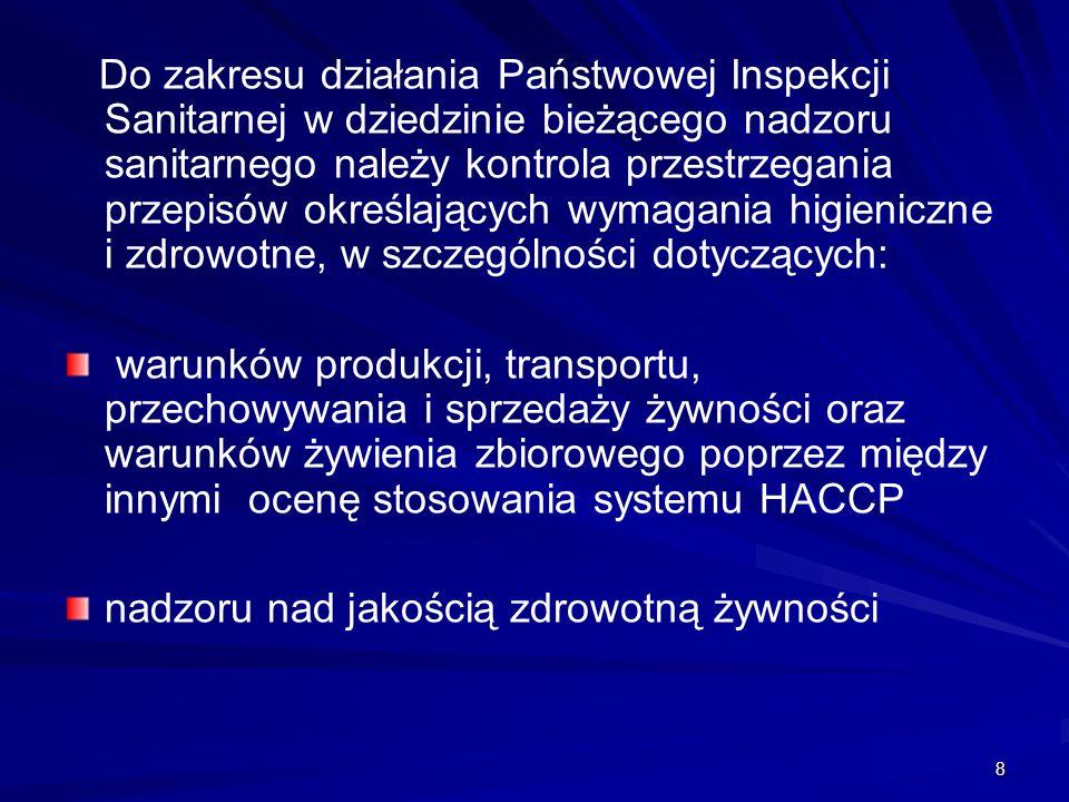 8 Do zakresu działania Państwowej Inspekcji Sanitarnej w dziedzinie bieżącego nadzoru sanitarnego należy kontrola przestrzegania przepisów określający