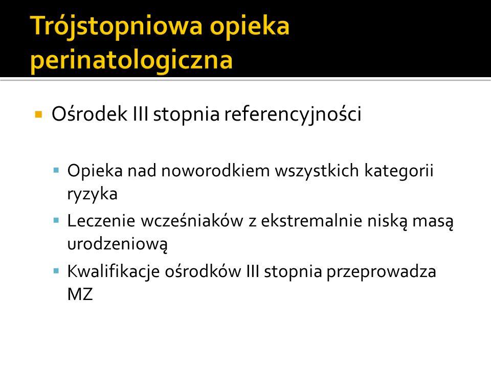 Liczba wszystkich oddziałów – 30 I stopień referencyjności – 21 II stopień referencyjności – 8 (4 we Wrocławiu) III stopień referencyjności – 1 (Oddział Neonatologii ASK)