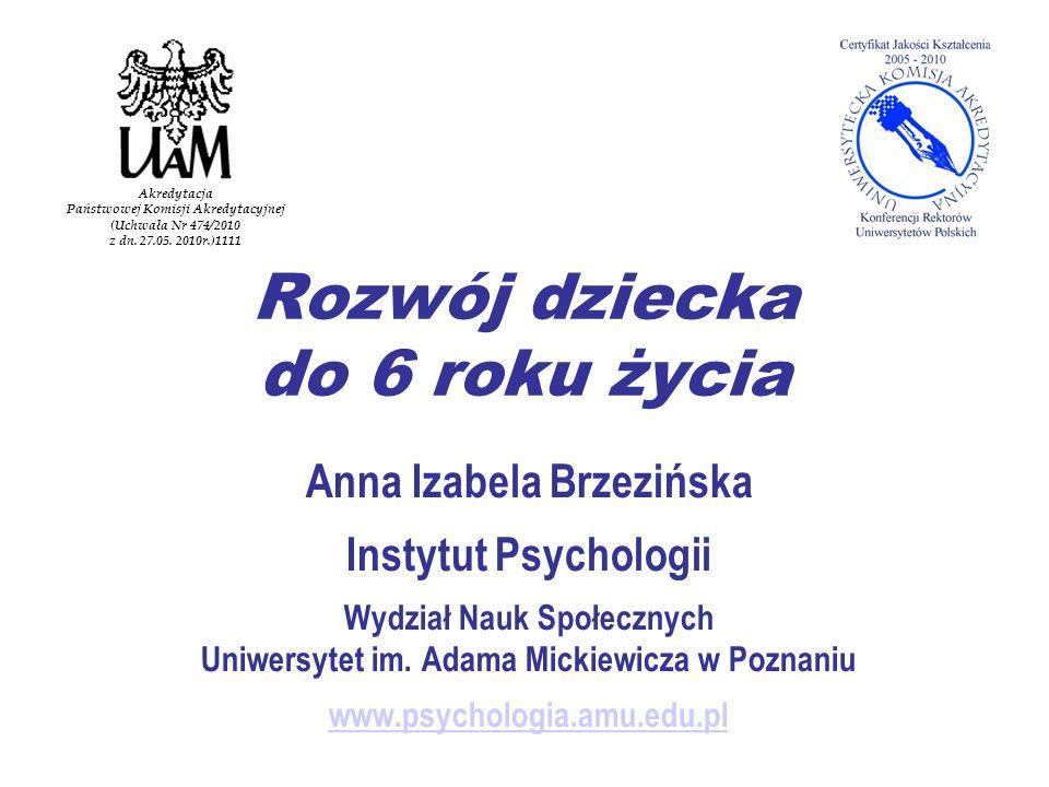 Rozwój dziecka do 6 roku życia Anna Izabela Brzezińska Instytut Psychologii Wydział Nauk Społecznych Uniwersytet im.