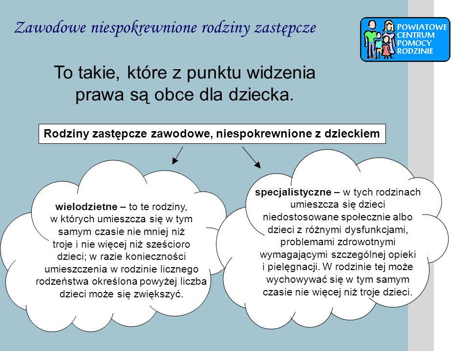 Pełnienie funkcji rodziny zastępczej może być powierzone małżonkom lub osobie niepozostającej w związku małżeńskim, jeżeli osoby te spełniają następujące warunki: dają rękojmię należytego wykonywania zadań rodziny zastępczej, mają stałe miejsce zamieszkania na terytorium Rzeczypospolitej Polskiej, korzystają z pełni praw cywilnych i obywatelskich, nie są lub nie były pozbawione władzy rodzicielskiej, nie są ograniczone we władzy rodzicielskiej ani też władza rodzicielska nie została im zawieszona, wywiązują się z obowiązku łożenia na utrzymanie osoby najbliższej lub innej osoby, gdy ciąży na nich taki obowiązek z mocy prawa lub orzeczenia sądu, nie są chore na chorobę uniemożliwiającą właściwą opiekę nad dzieckiem, co zostało stwierdzone zaświadczeniem lekarskim, mają odpowiednie warunki mieszkaniowe oraz stałe źródło utrzymania, uzyskały pozytywną opinię ośrodka pomocy społecznej właściwego ze względu na miejsce zamieszkania.