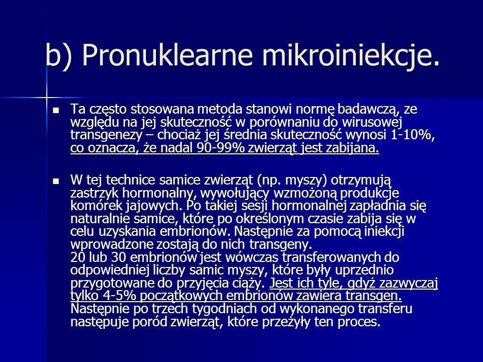 b) Pronuklearne mikroiniekcje. Ta często stosowana metoda stanowi normę badawczą, ze względu na jej skuteczność w porównaniu do wirusowej transgenezy