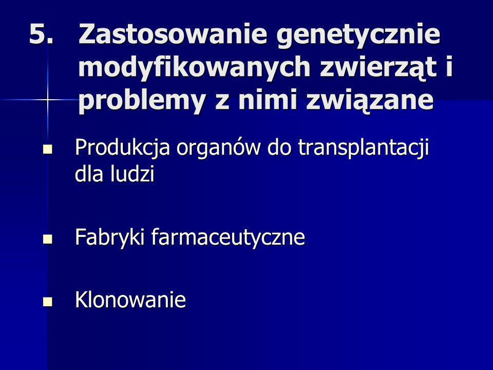 5. Zastosowanie genetycznie modyfikowanych zwierząt i problemy z nimi związane Produkcja organów do transplantacji dla ludzi Produkcja organów do tran