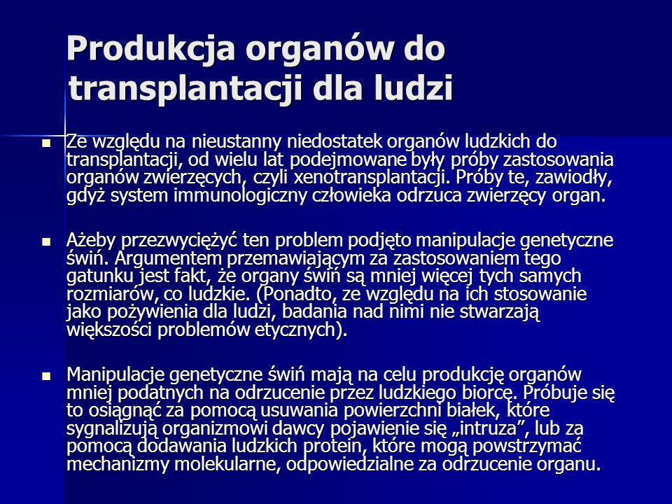 Produkcja organów do transplantacji dla ludzi Produkcja organów do transplantacji dla ludzi Ze względu na nieustanny niedostatek organów ludzkich do t