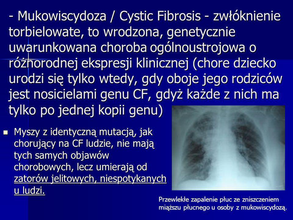 - Mukowiscydoza / Cystic Fibrosis - zwłóknienie torbielowate, to wrodzona, genetycznie uwarunkowana choroba ogólnoustrojowa o różnorodnej ekspresji kl