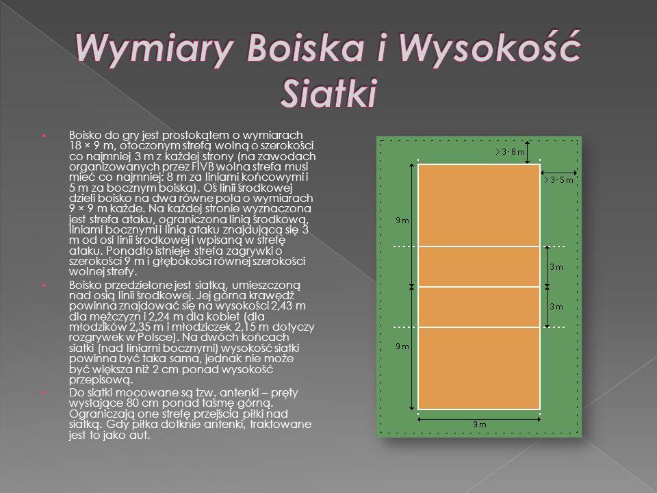 Boisko do gry jest prostokątem o wymiarach 18 × 9 m, otoczonym strefą wolną o szerokości co najmniej 3 m z każdej strony (na zawodach organizowanych p