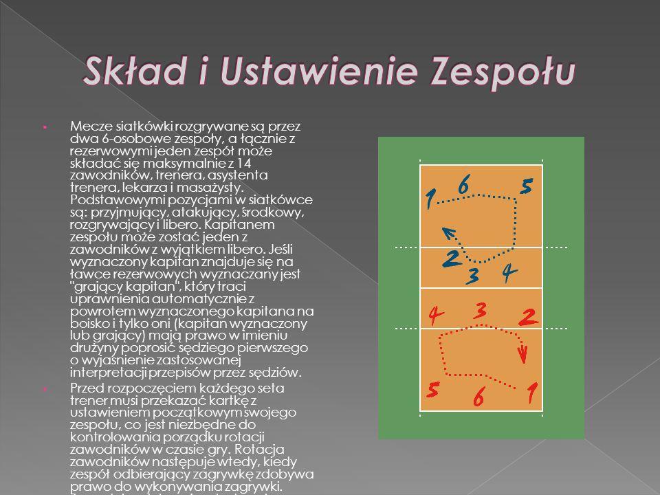 Mecze siatkówki rozgrywane są przez dwa 6-osobowe zespoły, a łącznie z rezerwowymi jeden zespół może składać się maksymalnie z 14 zawodników, trenera,
