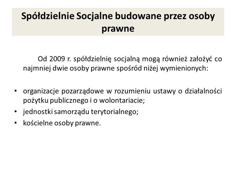 Spółdzielnie Socjalne budowane przez osoby prawne Od 2009 r. spółdzielnię socjalną mogą również założyć co najmniej dwie osoby prawne spośród niżej wy
