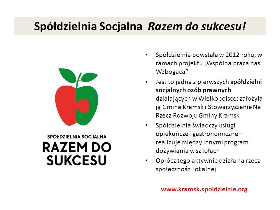 Spółdzielnia Socjalna Razem do sukcesu! Spółdzielnia powstała w 2012 roku, w ramach projektu Wspólna praca nas Wzbogaca Jest to jedna z pierwszych spó