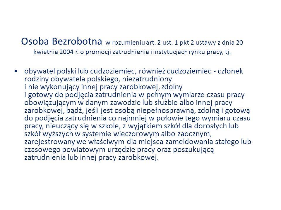 Osoba Bezrobotna w rozumieniu art. 2 ust. 1 pkt 2 ustawy z dnia 20 kwietnia 2004 r. o promocji zatrudnienia i instytucjach rynku pracy, tj. obywatel p