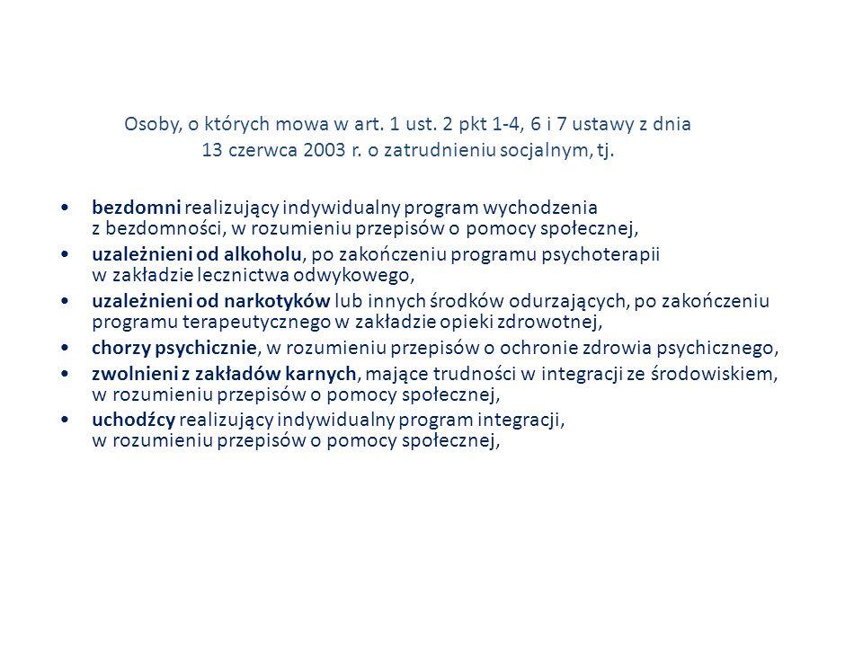 Osoby, o których mowa w art. 1 ust. 2 pkt 1-4, 6 i 7 ustawy z dnia 13 czerwca 2003 r. o zatrudnieniu socjalnym, tj. bezdomni realizujący indywidualny