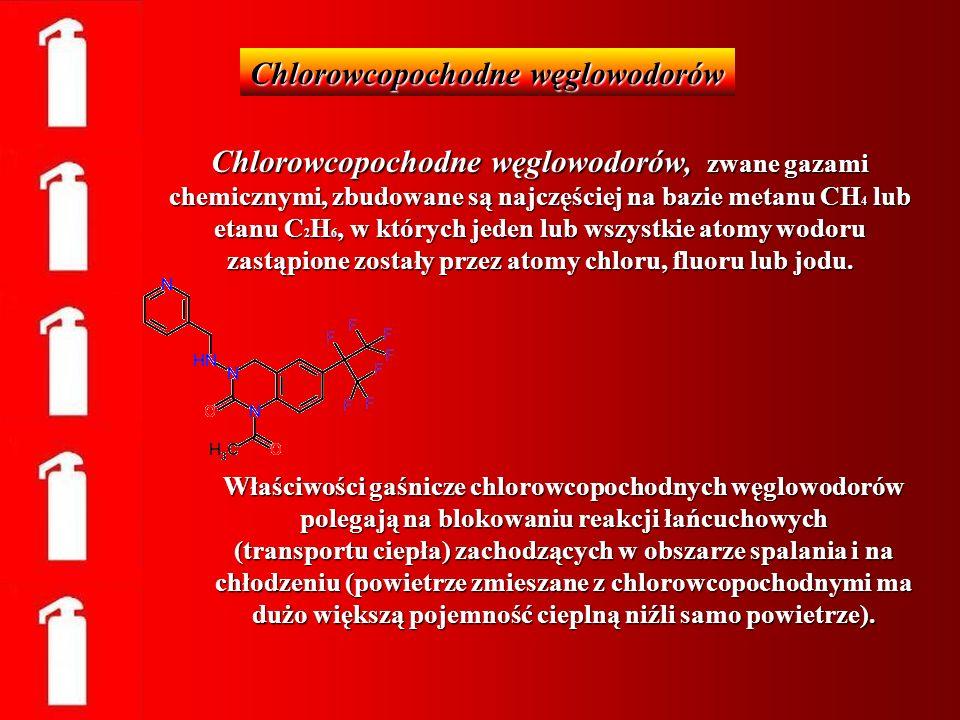 Chlorowcopochodne węglowodorów, zwane gazami chemicznymi, zbudowane są najczęściej na bazie metanu CH 4 lub etanu C 2 H 6, w których jeden lub wszystk