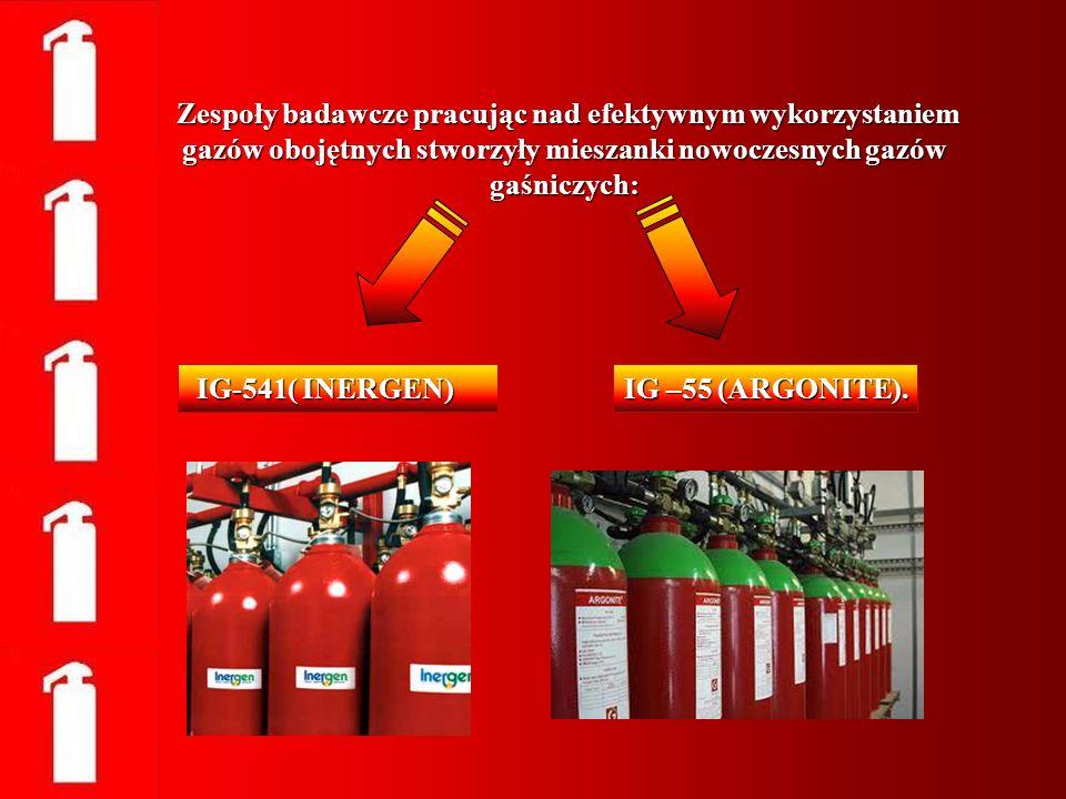 Zespoły badawcze pracując nad efektywnym wykorzystaniem gazów obojętnych stworzyły mieszanki nowoczesnych gazów gaśniczych: Zespoły badawcze pracując