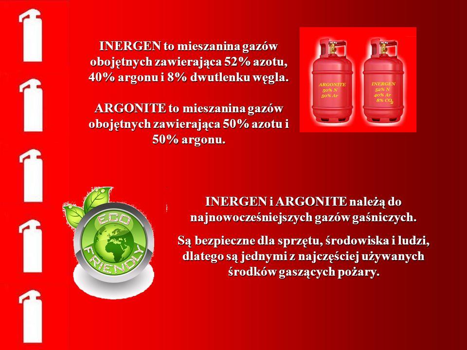 INERGEN to mieszanina gazów obojętnych zawierająca 52% azotu, 40% argonu i 8% dwutlenku węgla. ARGONITE to mieszanina gazów obojętnych zawierająca 50%