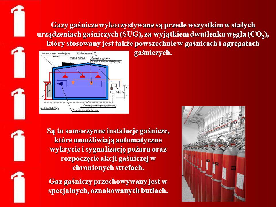 Gazy gaśnicze wykorzystywane są przede wszystkim w stałych urządzeniach gaśniczych (SUG), za wyjątkiem dwutlenku węgla (CO 2 ), który stosowany jest t