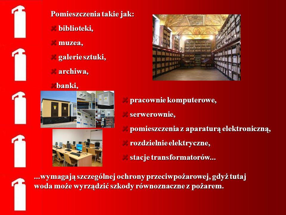 Pomieszczenia takie jak: biblioteki, biblioteki, muzea, muzea, galerie sztuki, galerie sztuki, archiwa, archiwa,banki, pracownie komputerowe, pracowni