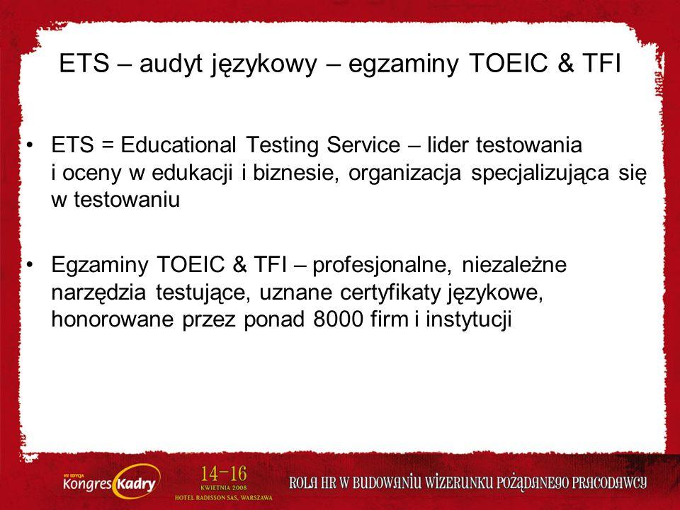 ETS – audyt językowy – egzaminy TOEIC & TFI ETS = Educational Testing Service – lider testowania i oceny w edukacji i biznesie, organizacja specjalizu