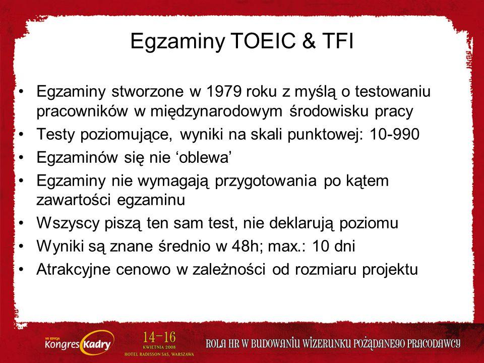 Egzaminy TOEIC & TFI Egzaminy stworzone w 1979 roku z myślą o testowaniu pracowników w międzynarodowym środowisku pracy Testy poziomujące, wyniki na s