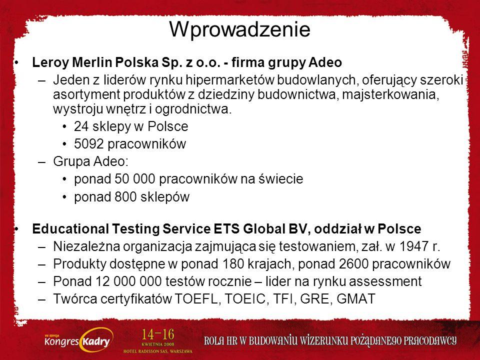 Wprowadzenie Leroy Merlin Polska Sp. z o.o. - firma grupy Adeo –Jeden z liderów rynku hipermarketów budowlanych, oferujący szeroki asortyment produktó