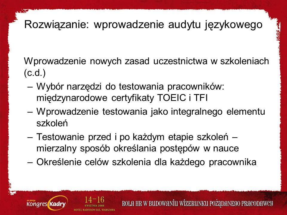Rozwiązanie: wprowadzenie audytu językowego Wprowadzenie nowych zasad uczestnictwa w szkoleniach (c.d.) –Wybór narzędzi do testowania pracowników: mię