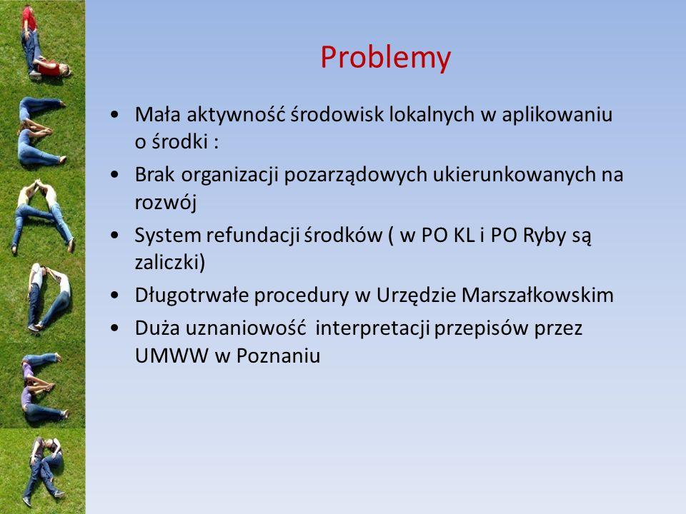 Problemy Mała aktywność środowisk lokalnych w aplikowaniu o środki : Brak organizacji pozarządowych ukierunkowanych na rozwój System refundacji środków ( w PO KL i PO Ryby są zaliczki) Długotrwałe procedury w Urzędzie Marszałkowskim Duża uznaniowość interpretacji przepisów przez UMWW w Poznaniu