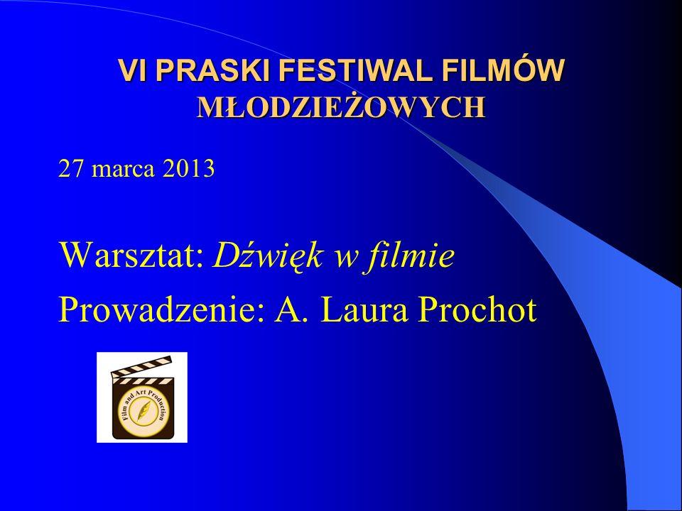 VI PRASKI FESTIWAL FILMÓW MŁODZIEŻOWYCH 27 marca 2013 Warsztat: Dźwięk w filmie Prowadzenie: A.