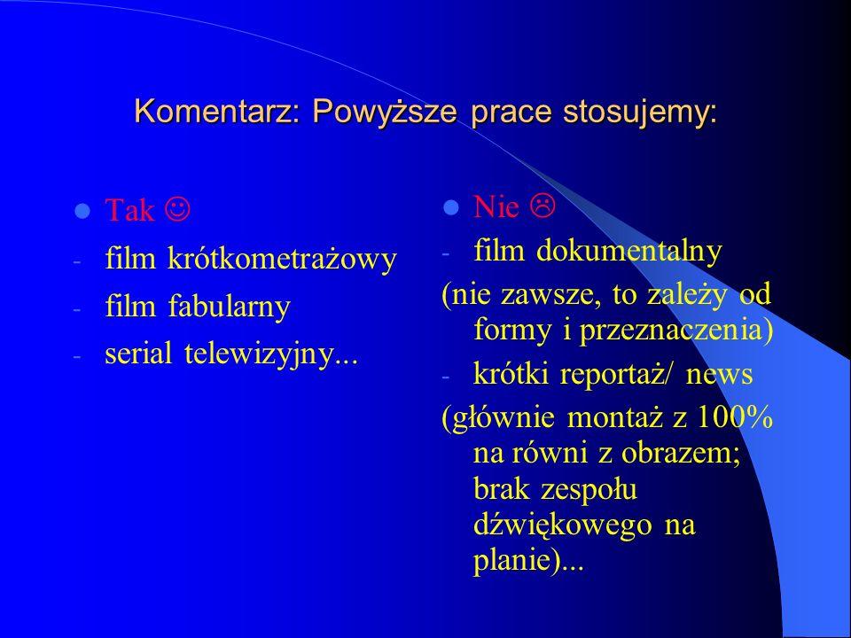 Komentarz: Powyższe prace stosujemy: Tak - film krótkometrażowy - film fabularny - serial telewizyjny...