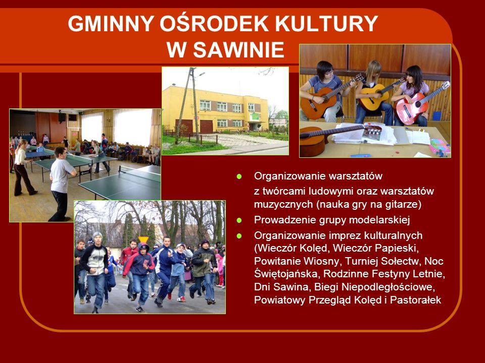 GMINNY OŚRODEK KULTURY W SAWINIE Organizowanie warsztatów z twórcami ludowymi oraz warsztatów muzycznych (nauka gry na gitarze) Prowadzenie grupy mode
