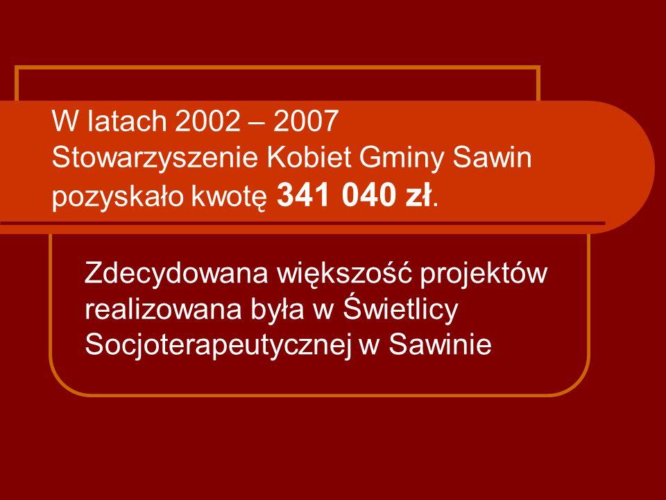 W latach 2002 – 2007 Stowarzyszenie Kobiet Gminy Sawin pozyskało kwotę 341 040 zł. Zdecydowana większość projektów realizowana była w Świetlicy Socjot