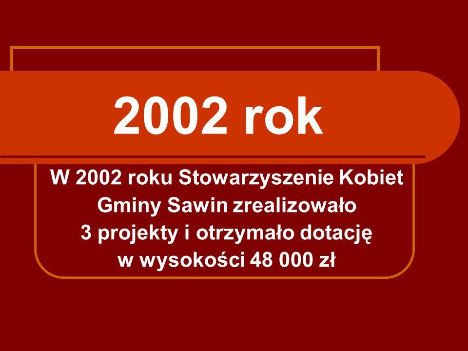 2002 rok W 2002 roku Stowarzyszenie Kobiet Gminy Sawin zrealizowało 3 projekty i otrzymało dotację w wysokości 48 000 zł