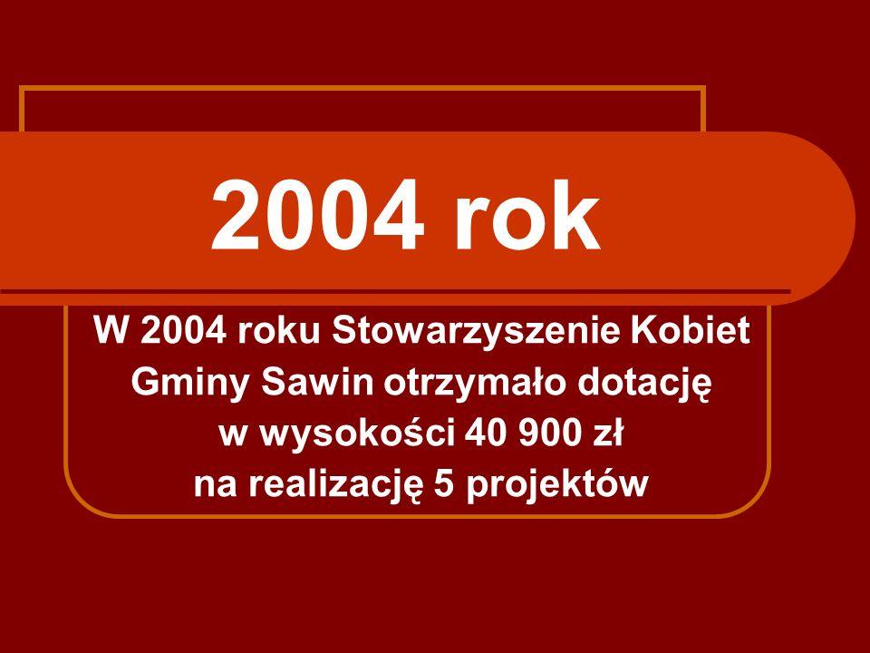 2004 rok W 2004 roku Stowarzyszenie Kobiet Gminy Sawin otrzymało dotację w wysokości 40 900 zł na realizację 5 projektów